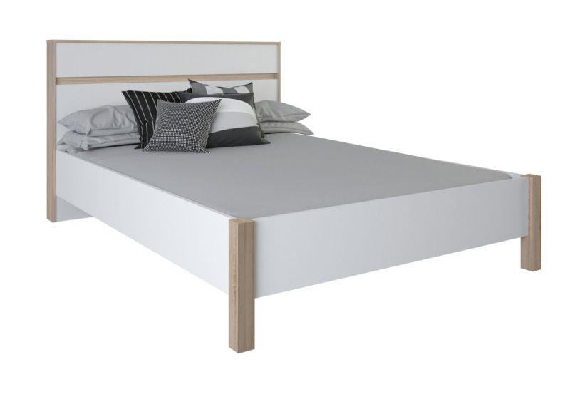 Einzelbett / Gästebett Damboa 30, Farbe: Eiche / Weiß - Liegefläche: 140 x 200 cm (B x L)