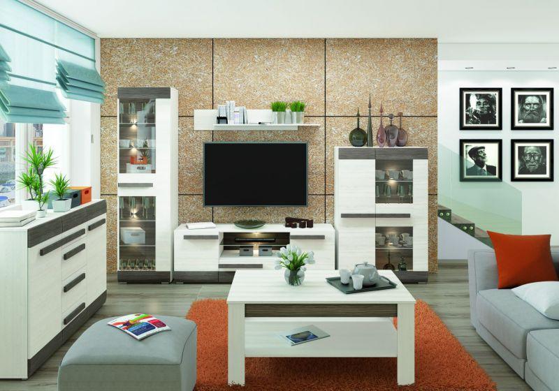 Wohnzimmer Komplett - Set C Knoxville, 6-teilig, Farbe: Kiefer Weiß / Grau