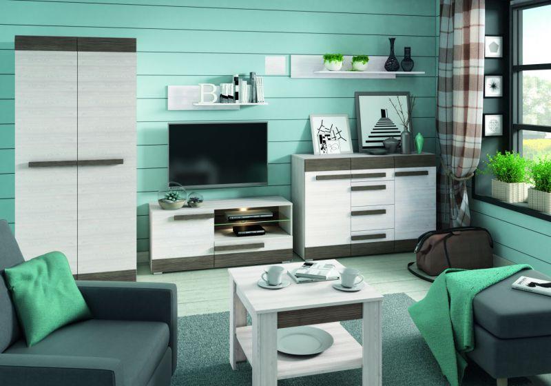 Wohnzimmer Komplett - Set D Knoxville, 6-teilig, Farbe: Kiefer Weiß / Grau