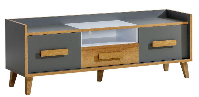 TV-Unterschrank Caranx 7, Farbe: Weiß / Eiche / Anthrazit - Abmessungen: 57 x 160 x 42 cm (H x B x T)
