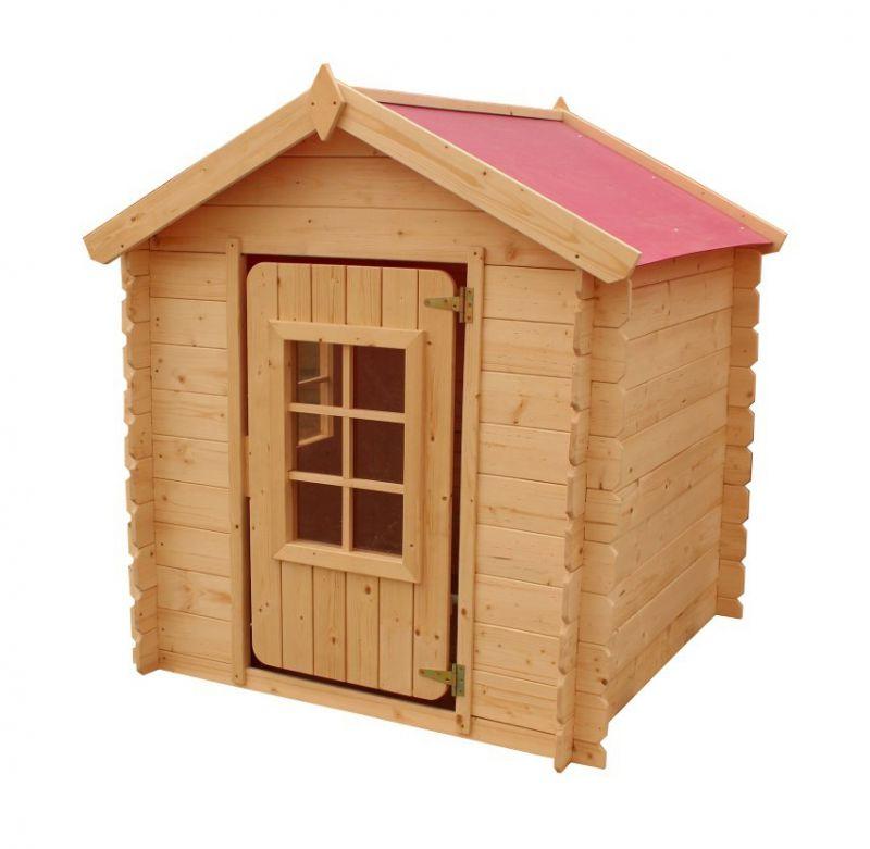 Spielhaus Happy Park Rot - 1,05 x 1,05 Meter aus 13 mm Blockbohlen