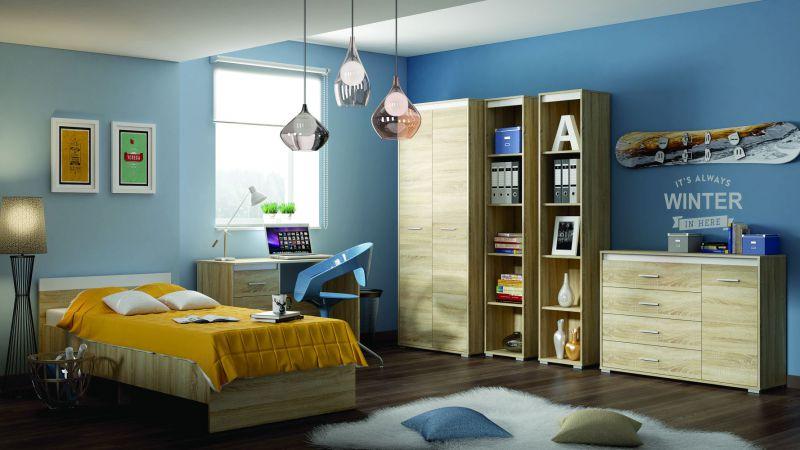 Schlafzimmer Komplett - Set D Mochis, 6-teilig, Farbe: Sonoma Eiche hell inklusive 3 Farbeinsätzen