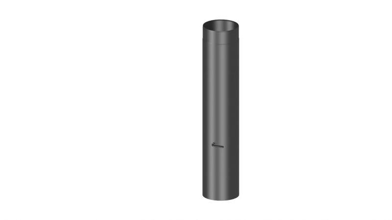 Rauchrohr mit Drosselklappe Länge 1000 mm - Durchmesser: 120 mm, Farbe: Schwarz