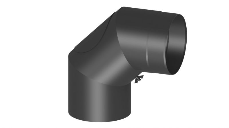 Rauchrohr Bogen 90 Grad mit Tür - Durchmesser: 120 mm, Farbe: Schwarz