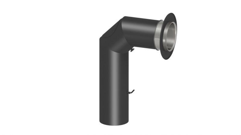 """Rauchrohr Set """"Standard"""" inkl. Rosette und Doppelwandfutter (700 x 450 mm) - Durchmesser: 120 mm, Farbe: Grau"""