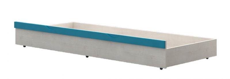 Bettkasten für Kinderbett / Jugendbett Peter 01, Farbe: Kiefer Weiß / Türkis - Liegefläche: 80 x 190 cm (B x L)
