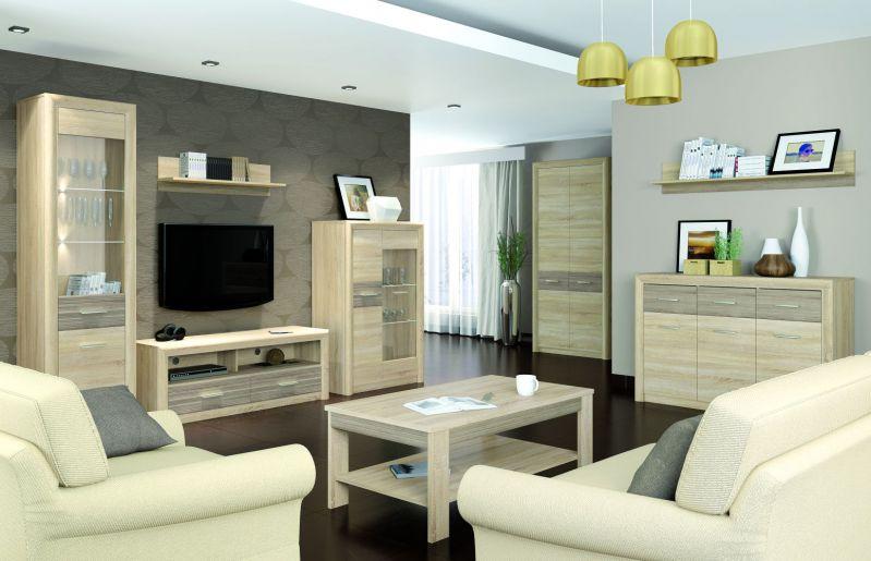 Wohnzimmer Komplett - Set A Mesquite, 8-teilig, Farbe: Sonoma Eiche hell / Sonoma Eiche Trüffel