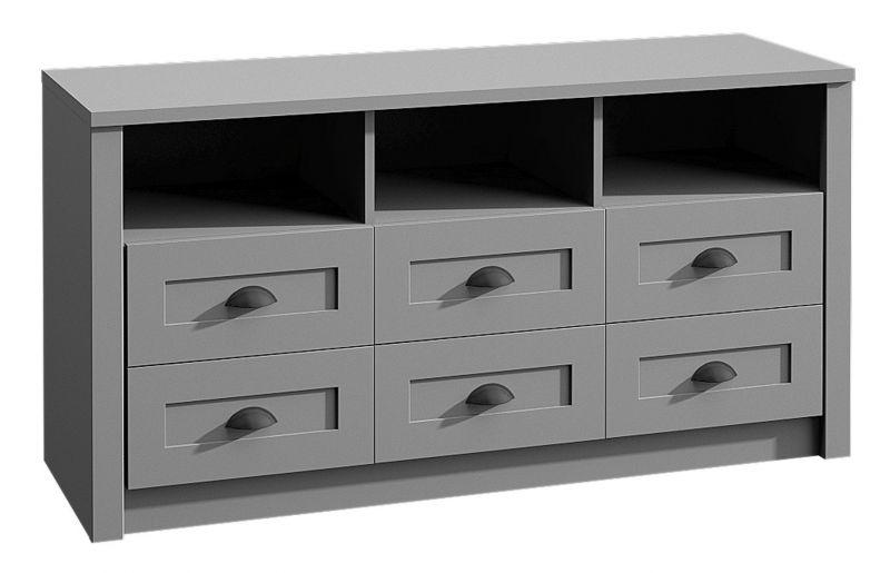 Kommode Segnas 03, Farbe: Grau - 68 x 130 x 43 cm (H x B x T)
