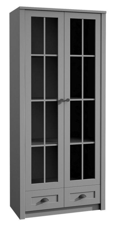 Vitrine Segnas 14, Farbe: Grau - 198 x 90 x 43 cm (H x B x T)