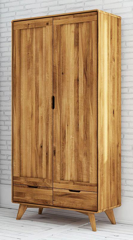 Drehtürenschrank / Kleiderschrank Timaru 19 Wildeiche massiv geölt - Abmessungen: 180 x 90 x 45 cm (H x B x T)