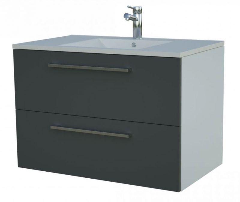 Waschtischunterschrank Bijapur 18, Farbe: Grau glänzend – 50 x 76 x 47 cm (H x B x T)