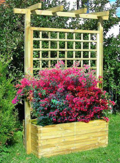 Blumenkasten mit Rankgitter Lonicera klein - Abmessung:  120 x 50 x 210 cm (B x T x H)