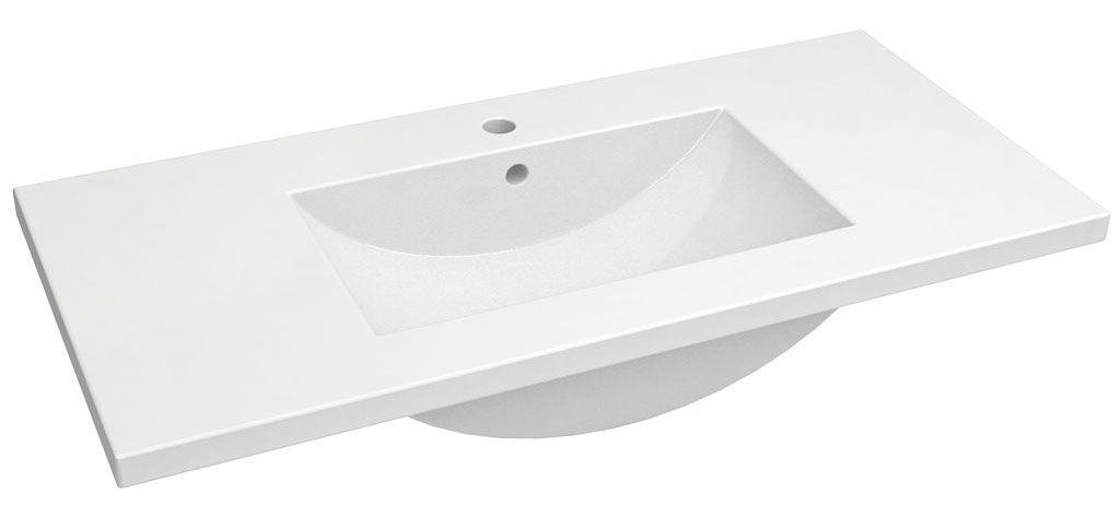 Bad - Waschbecken Bokaro 03, Farbe: Weiß – 18 x 102 x 47 cm (H x B x T)