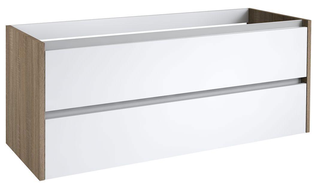 Waschtischunterschrank Kolkata 34 mit Siphonausschnitt, Farbe: Weiß glänzend / Eiche – 50 x 120 x 46 cm (H x B x T)