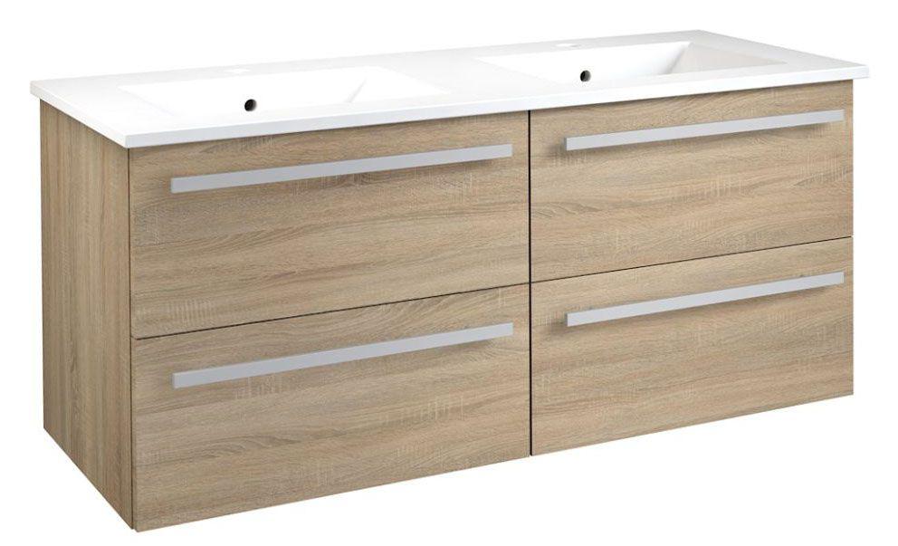 Waschtischunterschrank Bidar 48, Farbe: Eiche – 50 x 121 x 45 cm (H x B x T)