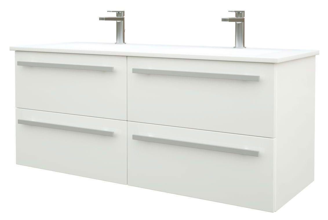 Waschtischunterschrank Bidar 46, Farbe: Weiß glänzend – 50 x 121 x 45 cm (H x B x T)