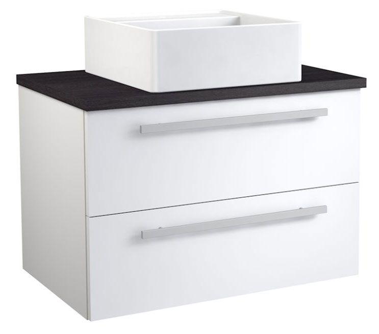 Waschtischunterschrank Bidar 69, Farbe: Weiß glänzend / Eiche Schwarz – 53 x 75 x 45 cm (H x B x T)