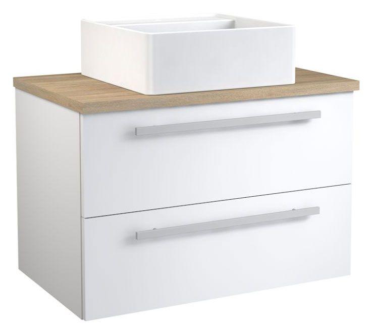 Waschtischunterschrank Bidar 70, Farbe: Weiß glänzend / Eiche – 53 x 75 x 45 cm (H x B x T)