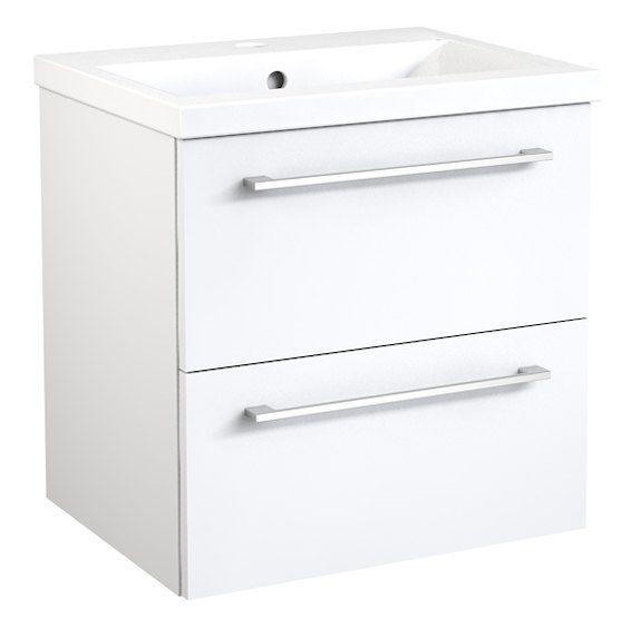 Waschtischunterschrank Nadiad 44, Farbe: Weiß glänzend – 50 x 51 x 39 cm (H x B x T)