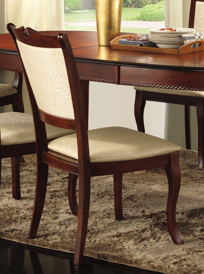 Stuhl Maridi 118, Farbe: Mahagoni / Beige, teilmassiv - Abmessungen: 96 x 48 x 45 cm (H x B x T)