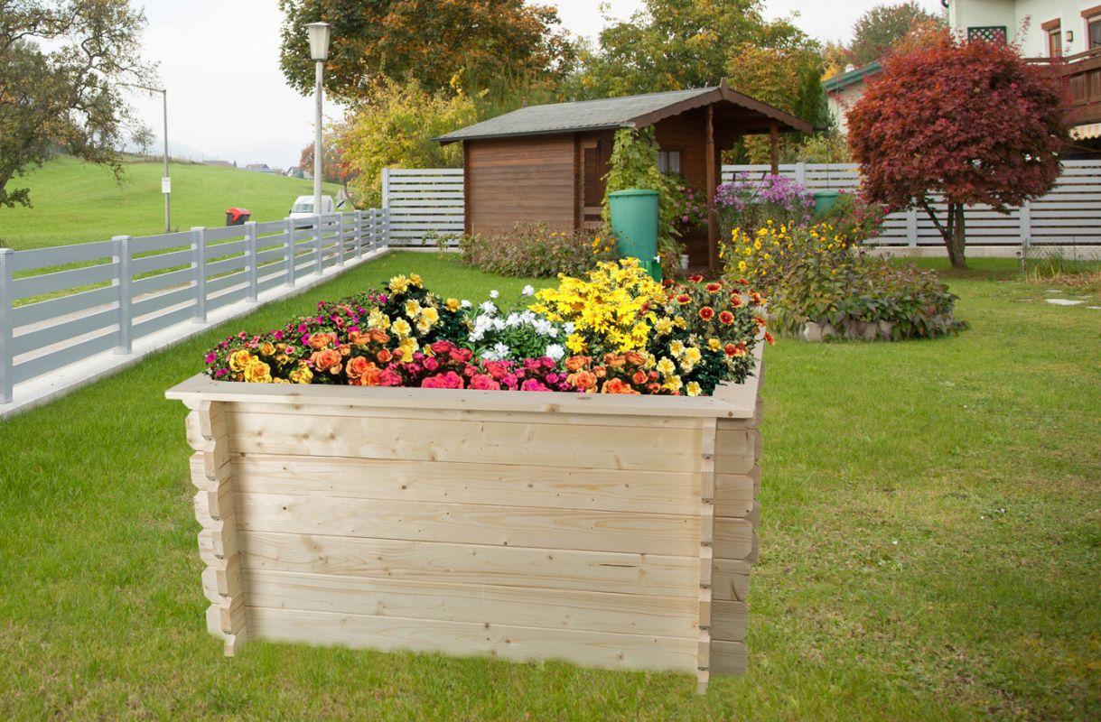 Hochbeet Gartenfreude aus Blockbohlen - Sockelmaß: 148 x 98 cm, Bohlenstärke: 28 mm