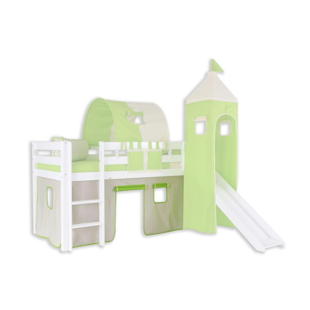 Vorhänge Stoff-Set - Farbe:Grün/Beige