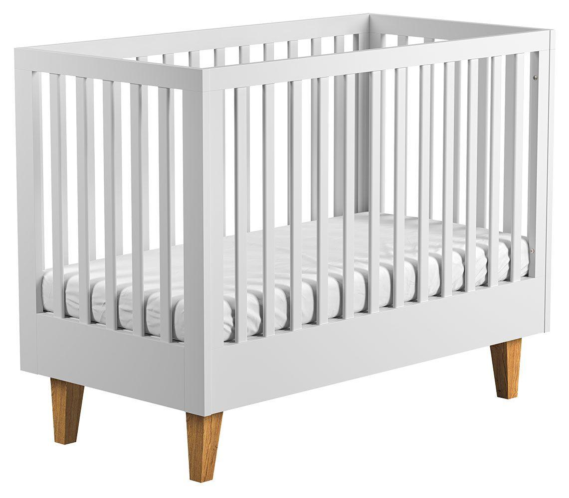 Babybett / Gitterbett Rilind 02, Farbe: Weiß / Eiche - Liegefläche: 70 x 140 cm (B x L)
