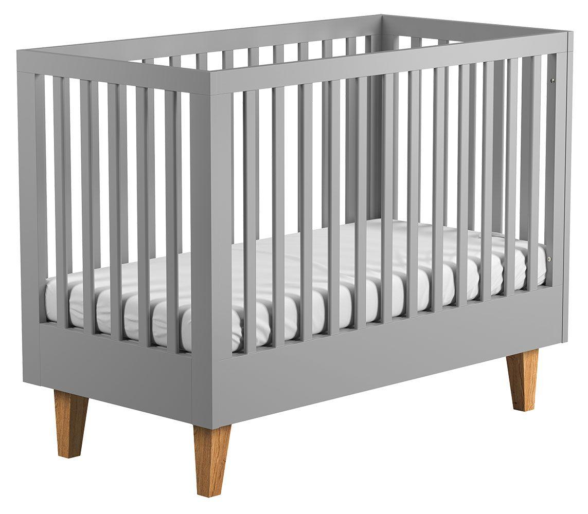 Babybett / Gitterbett Rilind 06, Farbe: Grau / Eiche - Liegefläche: 70 x 140 cm (B x L)