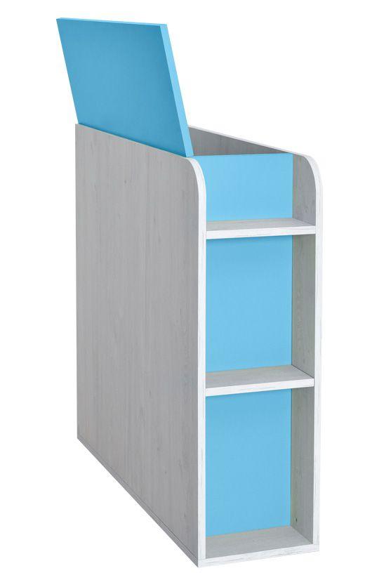 Kinderzimmer - Truhe Luis 03, Farbe: Eiche Weiß / Blau - 92 x 30 x 103 cm (H x B x T)