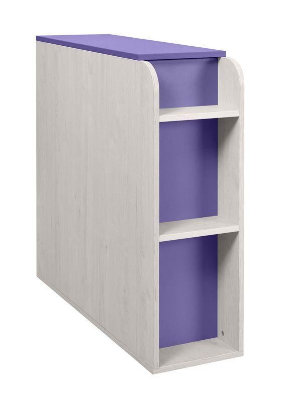 Kinderzimmer - Truhe Luis 03, Farbe: Eiche Weiß / Lila - 92 x 30 x 103 cm (H x B x T)
