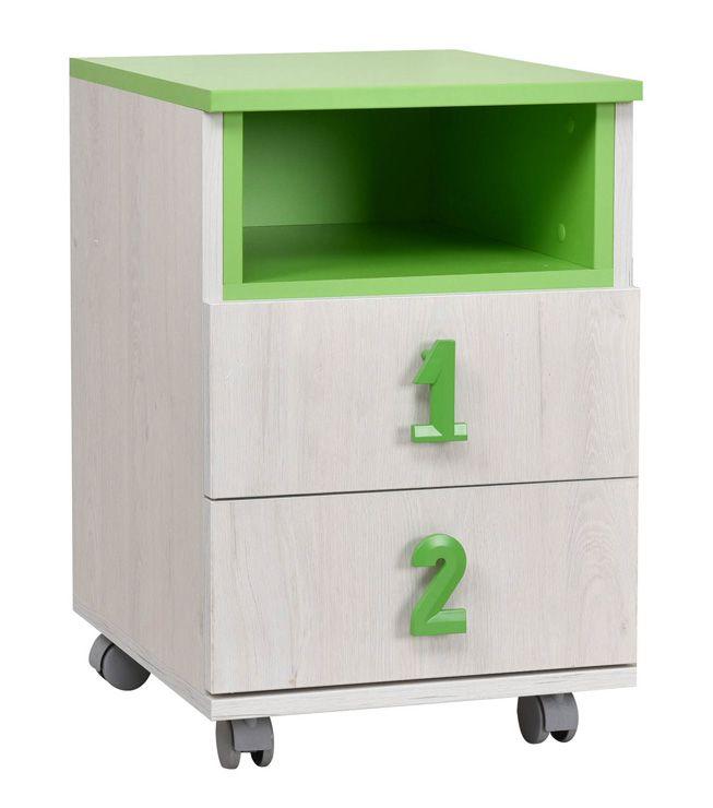 Kinderzimmer - Rollcontainer Luis 23, Farbe: Eiche Weiß / Grün - 60 x 40 x 42 cm (H x B x T)