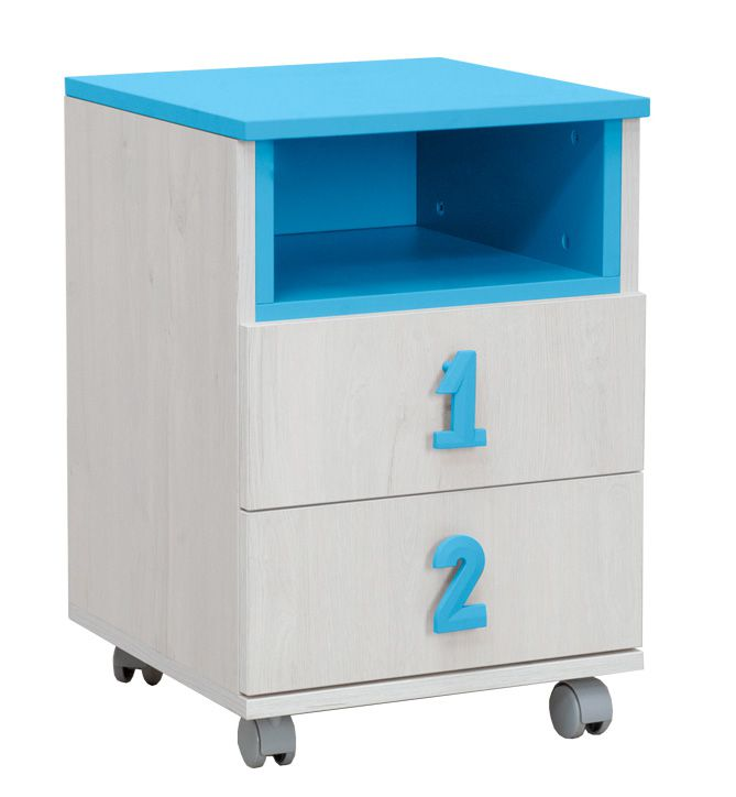 Kinderzimmer - Rollcontainer Luis 23, Farbe: Eiche Weiß / Blau - 60 x 40 x 42 cm (H x B x T)
