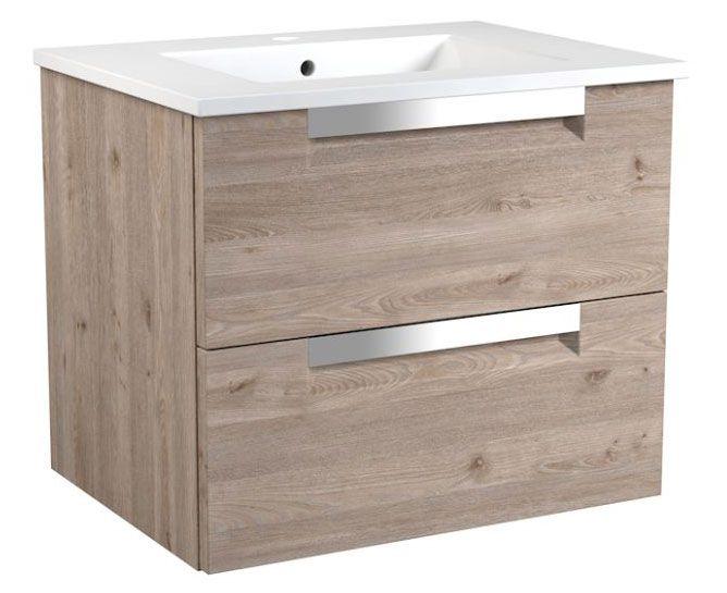 Waschtischunterschrank Purina 14, Farbe: Eiche Grau – 50 x 61 x 39 cm (H x B x T)