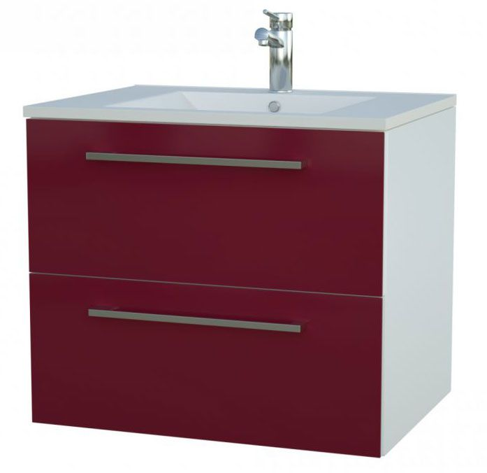 Waschtischunterschrank Bijapur 16, Farbe: Rot glänzend – 50 x 62 x 47 cm (H x B x T)