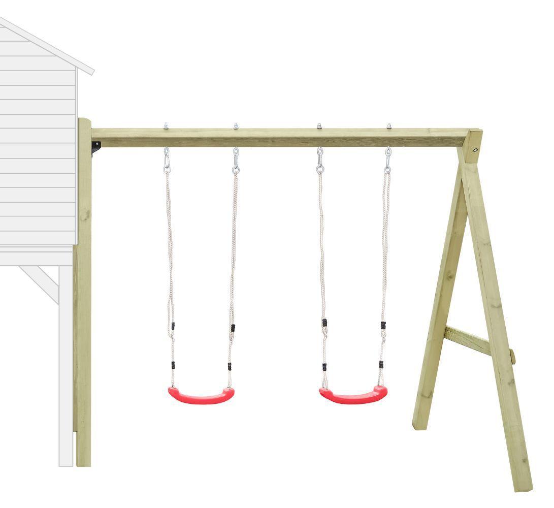 Anbau-Doppelschaukel 02 für Kinderspielhaus, FSC® - Abmessungen: 240 x 190 cm (L x B)