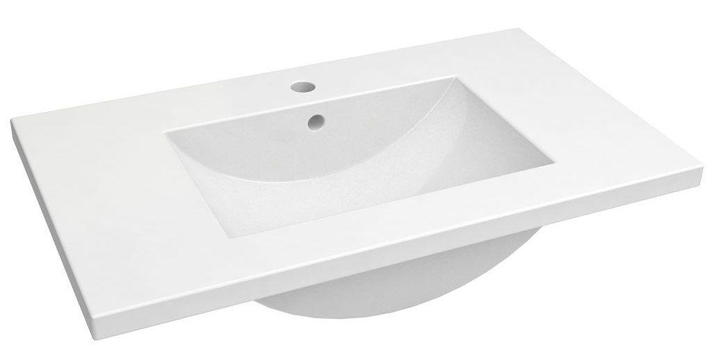 Bad - Waschbecken Bokaro 02, Farbe: Weiß – 18 x 82 x 47 cm (H x B x T)