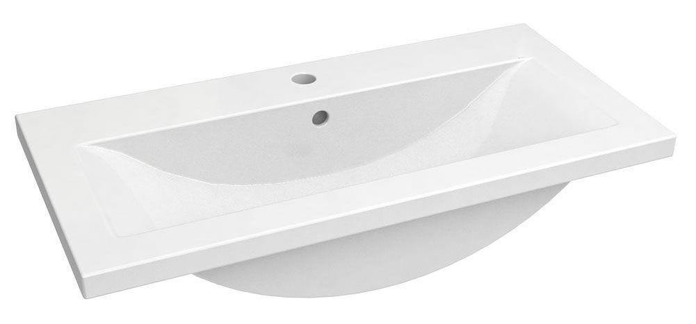 Bad - Waschbecken Jammu 03, Farbe: Weiß – 18 x 81 x 39 cm (H x B x T)