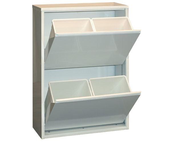 Metallschrank mit 4 Behälter in Weiß - Maße: 92 x 63 x 25 cm (H x B x T)