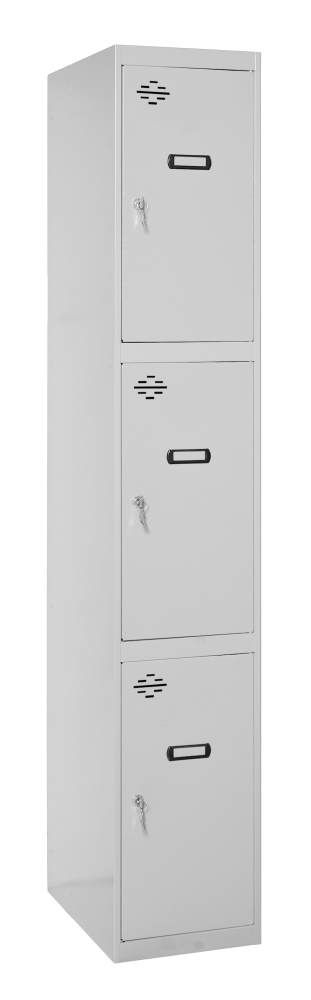 Schrank mit 3 Fächern unmontiert, Farbe: Grau, Maße: 180 x 30 x 50 cm (H x B x T)- Grundmodul