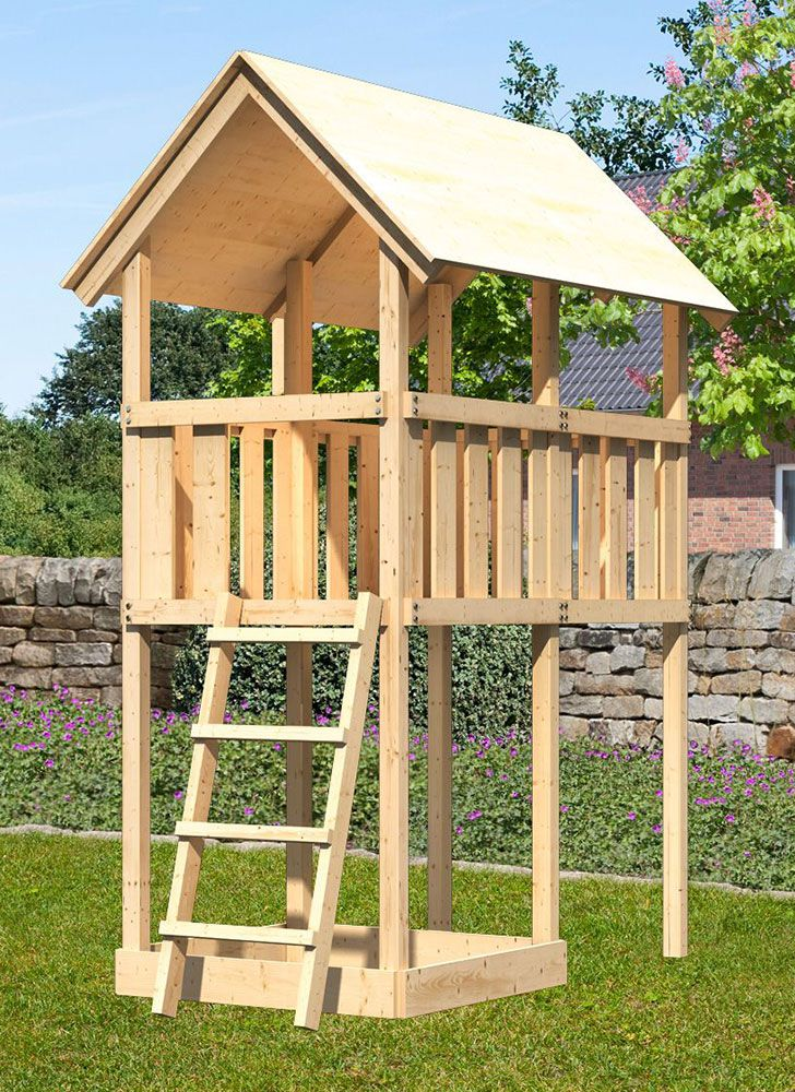 Spielturm / Stelzenhaus Sommer Park, naturbelassen - 1,07 x 2,02 x 2,91 m (B x T x H)