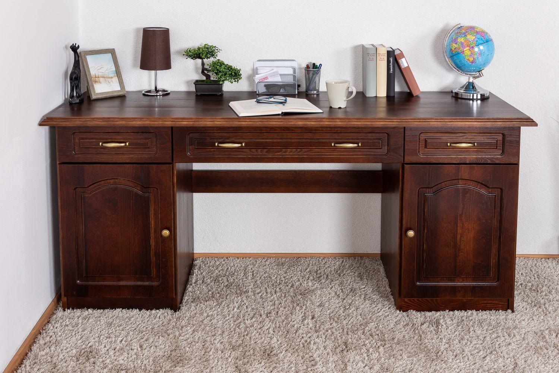 Schreibtisch Kiefer massiv Vollholz Walnussfarben Pipilo 19 - Abmessungen: 78 x 182 x 54 cm (H x B x T)