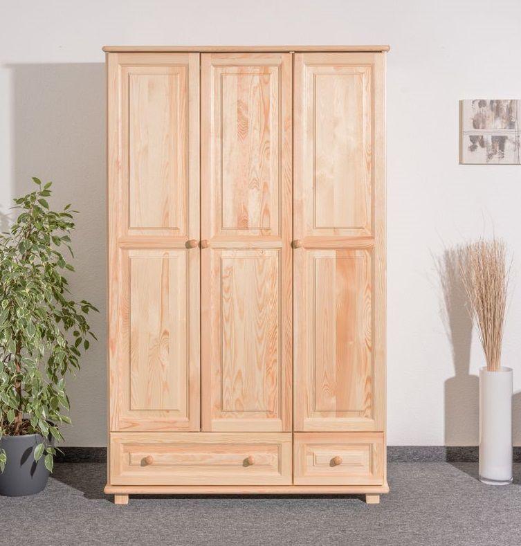 Kleiderschrank Kiefer Vollholz massiv natur 015 - Abmessung 190 x 133 x 60 cm (H x B x T)