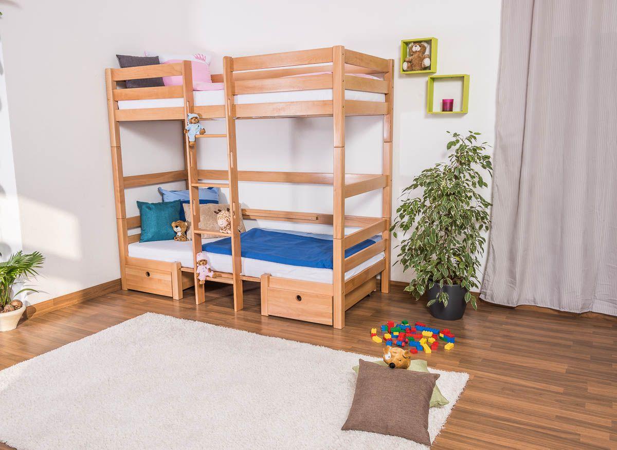 Funktionsbett mit Bettkasten Tim (umbaubar zu einem Tisch mit Bänken oder zu 2 Einzelbetten) Buche massiv natur inkl. Rollrost - 90 x 200 cm