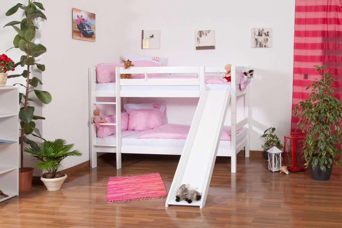 Kinderbett Etagenbett Moritz Buche Vollholz massiv weiß lackiert mit Rutsche inkl. Rollrost - 90 x 200 cm, teilbar