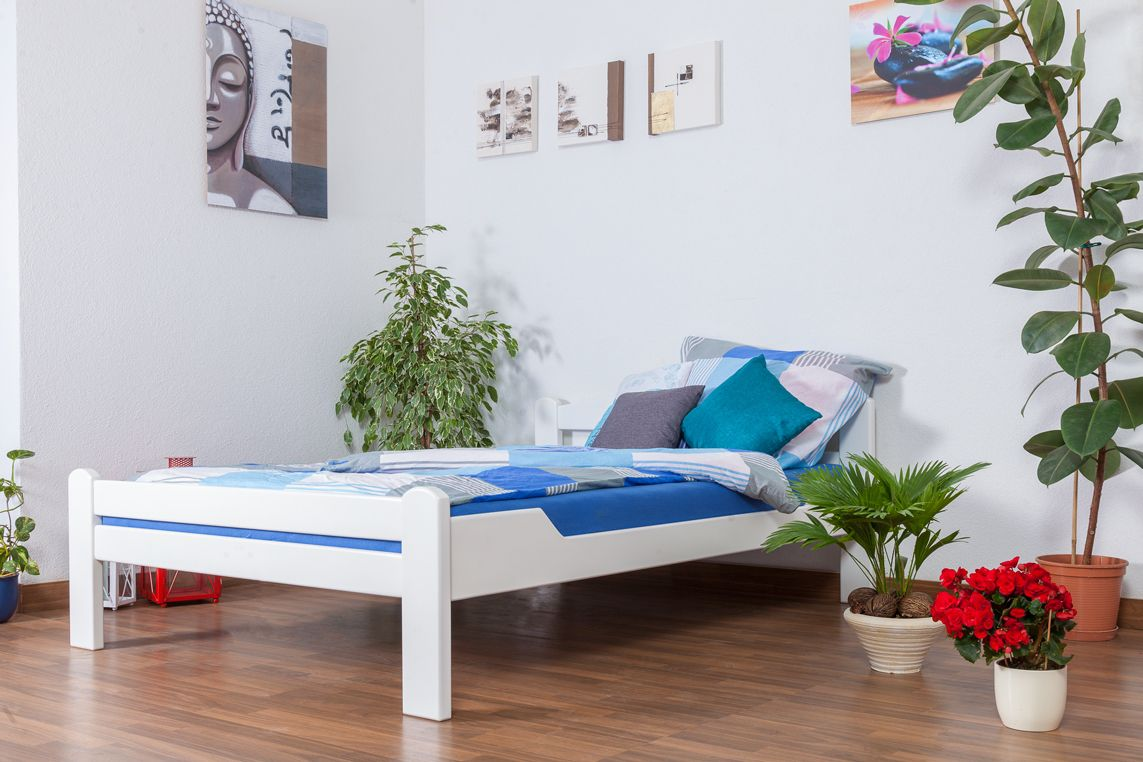 "Jugendbett ""Easy Premium Line"" K4, 140 x 200 cm Buche Vollholz massiv weiß lackiert"