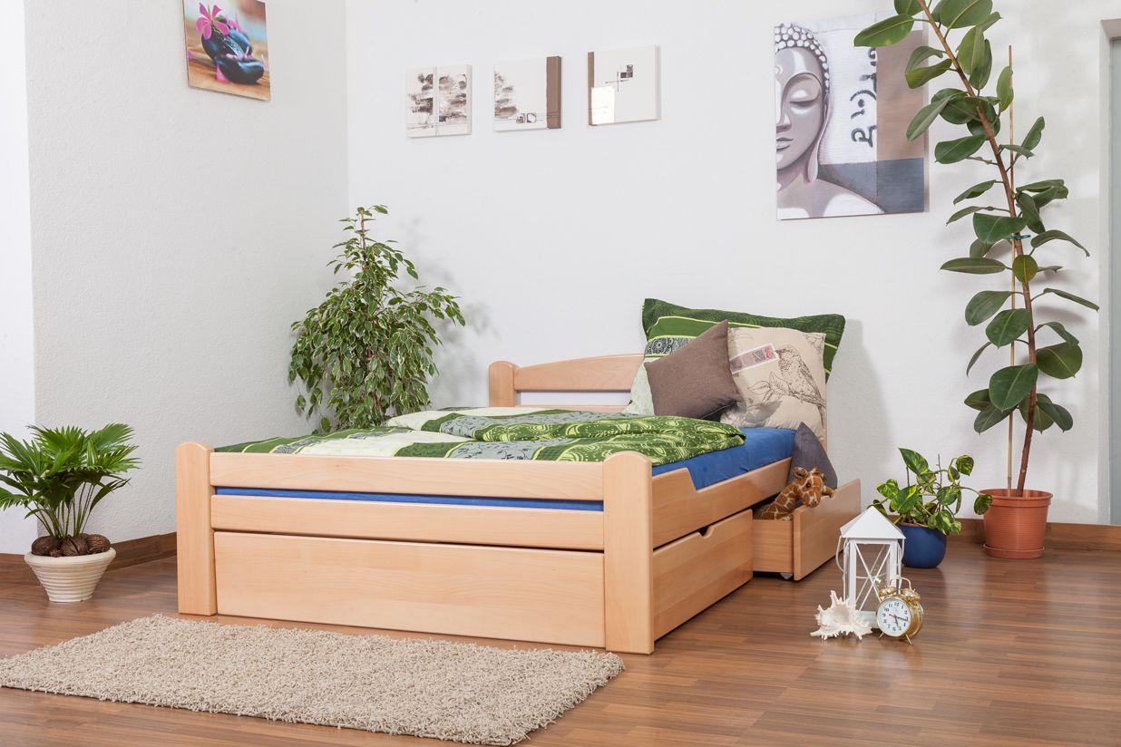 """Einzelbett / Funktionsbett """"Easy Premium Line"""" K4, inkl. 2 Schubladen und 1 Abdeckblende, 140 x 200 cm Buche Vollholz massiv Natur"""