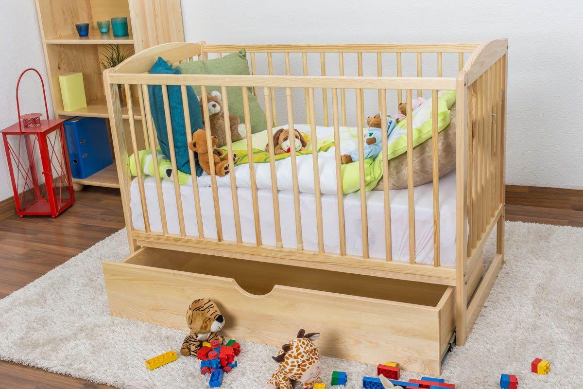 Gitterbett / Kinderbett Kiefer massiv Vollholz natur 102, inkl. Lattenrost - 60 x 120 cm, inkl. Schublade