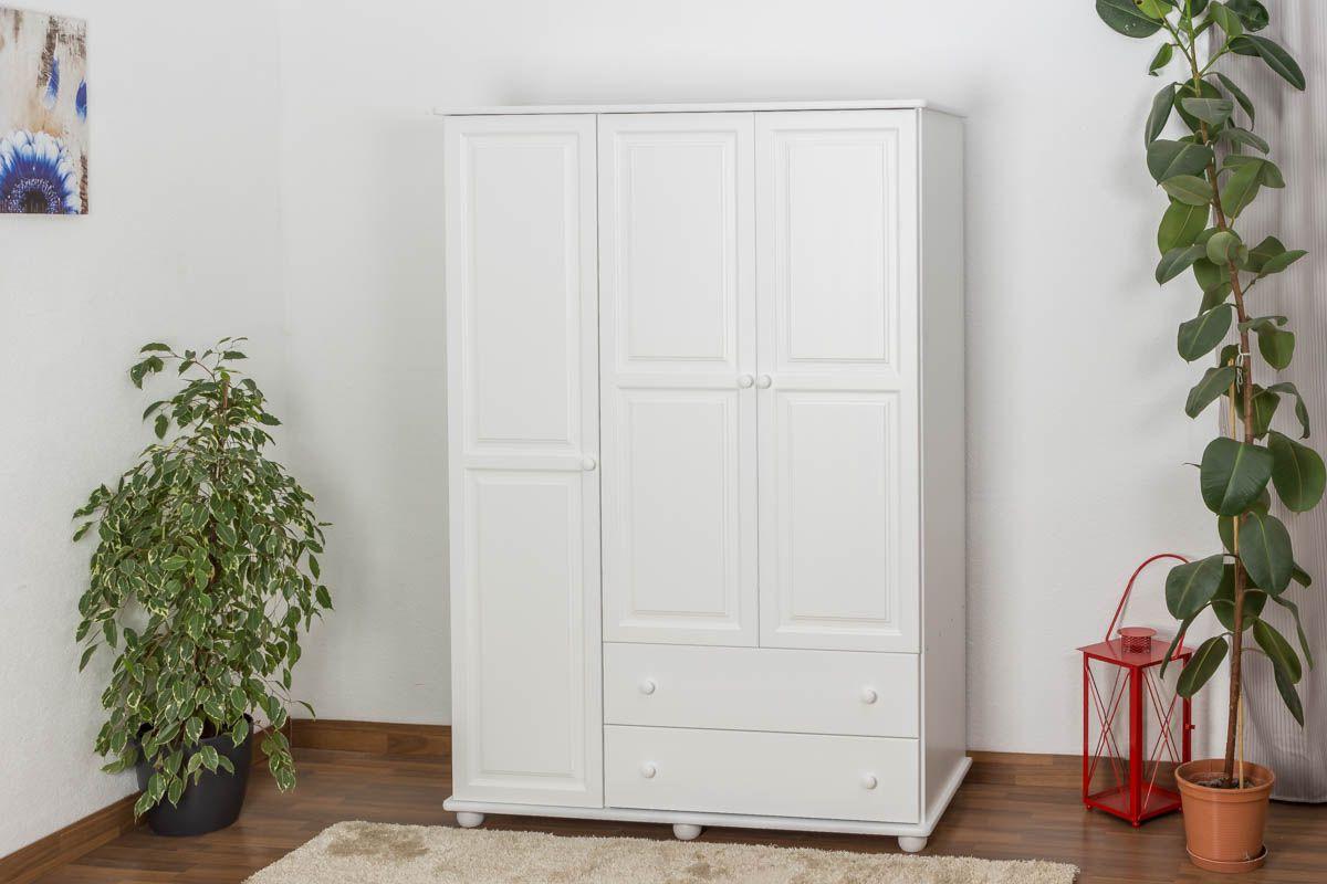 Kleiderschrank Kiefer Vollholz massiv weiß lackiert Junco 06 - Abmessung 195 x 135 x 59 cm