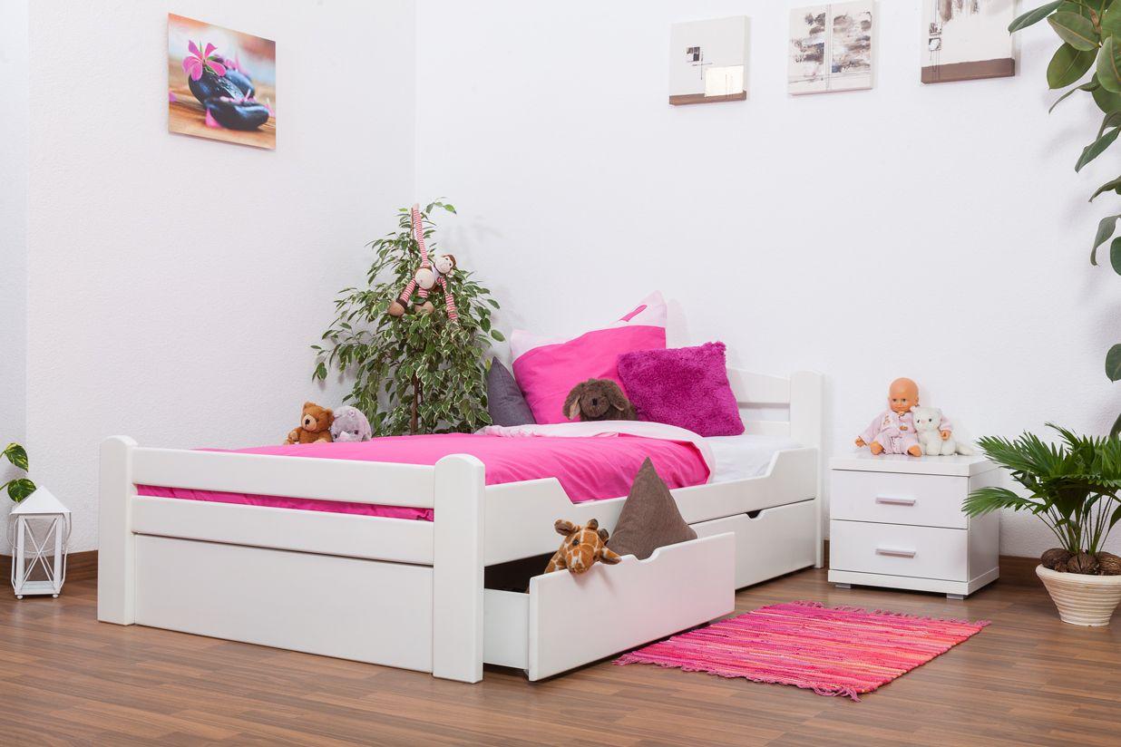 """Jugendbett """"Easy Premium Line"""" K4 inkl. 2 Schubladen und 1 Abdeckblende, 120 x 200 cm Buche Vollholz massiv weiß lackiert"""