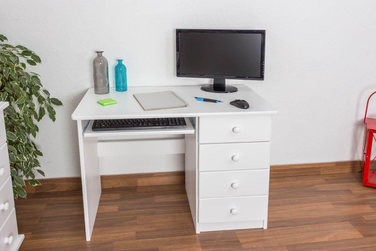 Schreibtisch Kiefer massiv Vollholz weiß lackiert Junco 191 - Abmessung 75 x 100 x 55 cm